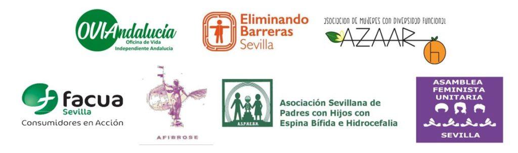 Logos de entidades convocantes y adheridas: VI Andalucía, Eliminando Barreras, Asociación AZAAR, FACUA, AFIBROSE, A.S.P.H.E.B.H, Asamblea Feminista Unitaria